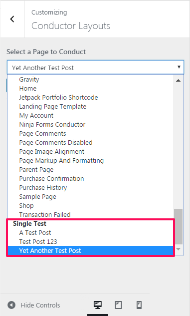 Conductor content layout custom post type support